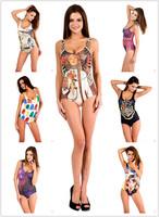 2014 Summer Hot sale Swimwear Casual Swimsuits Sexy Beachwear Printed For Women Lady Girl Female 10/pcs Wholesale 394-1