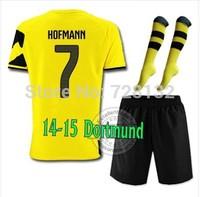 14-15 Top thailand Borussia Dortmund Home #7HOFMANN Soccer jersey with short and the match sock,2015 new jersey set