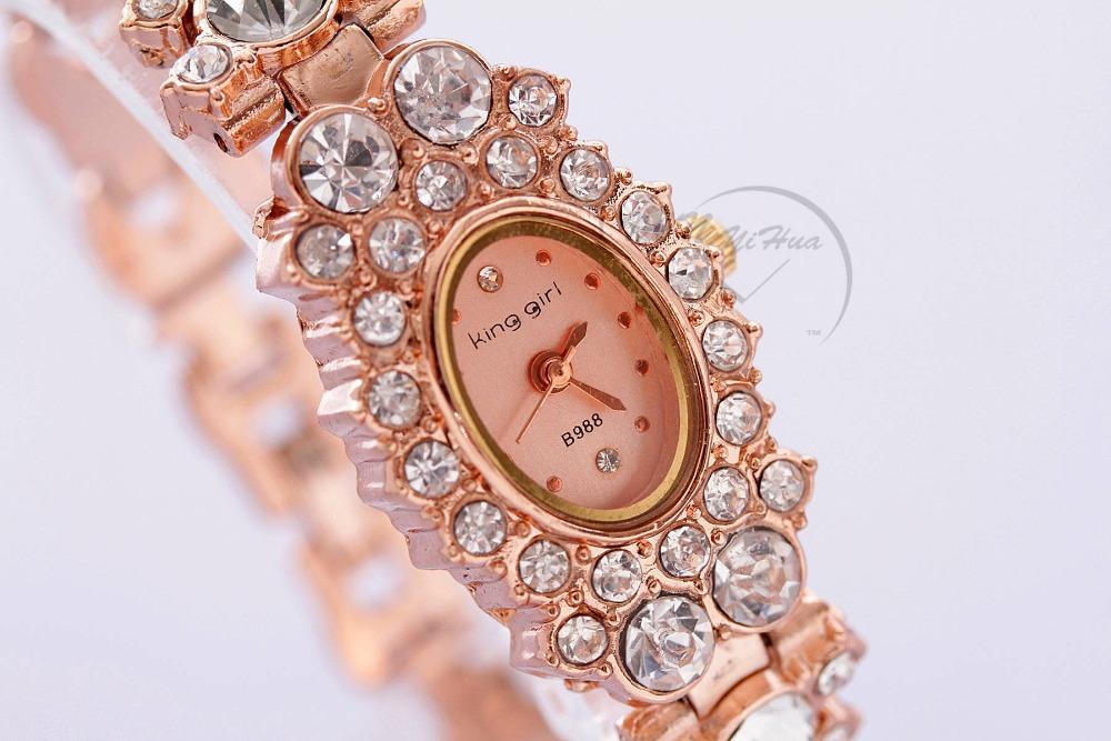 10PCS/LOT 2014 New Fashion Women Rhinestone Watch Analog Leaf buds strap Wristwatch Ladies Quartz Watches King Girl Promotions(China (Mainland))