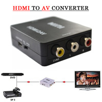 Free Shipping 2014 Hot Sale! HDMI to RCA AV Converter Adapter Mini Composite CVBS HDMI to AV HDMI 2 AV Converter 1080P