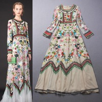 Top Grade New Luxury Designer Style 2014 Autumn Women Allover Colorful Floral Embroidery Long Dress A-Line Long Party Prom Dress