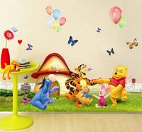 Hot Sale 1 Pieces Cartoon Bear and Tigger Wall Sticker Kids Nursery Cartoon Mural Sticker 50*70cm Free Shipping