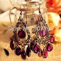 Hot Sell water drop earrings violet earring   unique drop earrings Bohemian style drop earrings Free shipping
