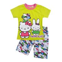 NEW 2014 Baby Summer Clothing Sets Girl's Short sleeve T Shirt + Short Pants Suit Kids fashion Sets Children KITTY RABBIT Shorts