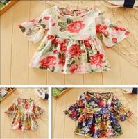 top quality children dresses fashion little  girls flower  print  princess beach dress Summer baby half  dress Retail