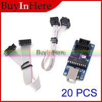 20PCS USBtinyISP AVR ISP programmer USB Download Interface 6pin 10pin Programming Cable for Arduino bootloader Meag2560 Uno R3