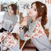 2014 New Fashion blouse all-match Long-sleeve stitching Korean casual loose women's round neck 3D flowers sweater