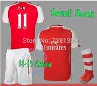 14 15 Embroidery FC Football Kits Set of Jersey & Shorts the match sock Men Sports Outfits Ozil Wilshere Podolski Soccer Uniform