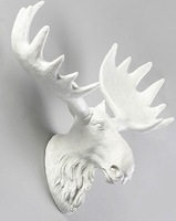 Animal head hanging handicrafts Carry the deer wall act the role ofing white resin Opening deer head wall coverings