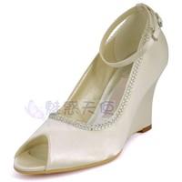 MZ703 wholesale free shipping handmade plus size wedges open toe high heel ivory bridal wedding shoes pumps