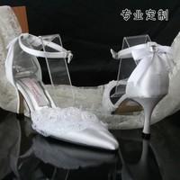 wholesale free shipping fashion plus size high-heeled shoes pointed toe satin wristband white wedding bridal women party shoes