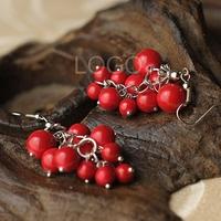 Chinese Style Earrings Grape Shaped Stone Beads Pendant Fashion