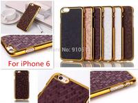 For iPhone 6 Gold Case Carbon Fiber Football Pattern Leather Sticker Electroplating Gold Side Hard Plastic Case