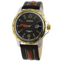 Curren Fashion Sport Analog Quartz Auto Date Watch Men Gold Round Dial Leather band Watch Wristwatch 8104