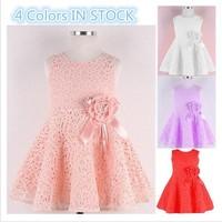 Free Shipping! 2014 Summer New girls dress,bow princess dress,Children lace dress,kids noble fairy dress high quality