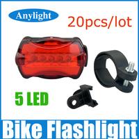 20pcs/lot Waterproof bicycle rear light led bike light 5 LED Safety lamp WLF86