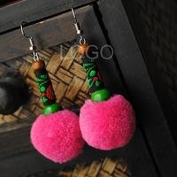 Women Earrings with Cute Pompon and Stone Bead as Pendant Earring Ear Studs
