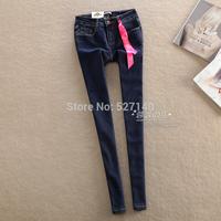 2014 autumn and winter new Korea tight deep blue pencil jeans