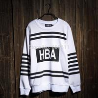 2014 New Fashion k-pop star EXO Kris HBA Hoodies autumn-winter couples round Neck sweater black&white strip HBA Sweatshirts AAA+
