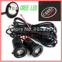 Free shipping ! Green light  12 V cree led car door light, led door courtesy light with car logo, led car logo door light