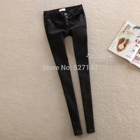 2014 new winter mid waist abdomen spot elastic pure black female pencil pants