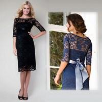 Fashion half sleeve maternity Maternity short sleeve lace maternity dress 2014 fashion long sleeve lace dresses large size