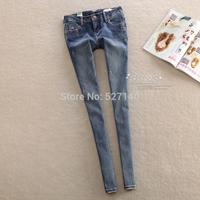 Hongkong new trade cattle goods! The dark blue jeans slim simple feet female / tight pencil pants