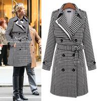 2014 autumn and winter woolen overcoat women's slim medium-long turn-down collar woolen outerwear female trench