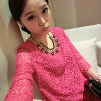 2014 Chiffon shirt short-sleeve cutout lace shirt  faux two piece set women's top loose plus size basic shirt