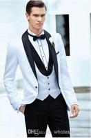 2014 - Custom Made One Button Groom Tuxedos White Best man Shawl Black Collar Groomsman Men Wedding Suits Bridegroom(Jacket+Pant