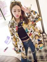 Preppy style 2014 autumn doll cartoon print shirt outerwear female