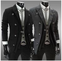 Blazer De Couro Masculino Mens Corduroy Jacket Double Breasted Blazer Men Slim Fit 2014 Casual Jacket Terno Masculino Blazer