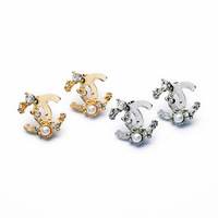 Stud Earrings Women Fashion C Crystal Pearl Earrings Gold Sliver Free shipping 5Pcs/lot