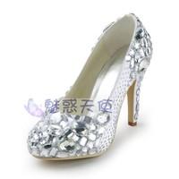 MZ344 wholesale free shipping fashion beaded rhinestone crystal plus size women's high heel bridal white wedding shoes