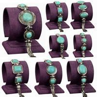 Bronze Blue Silver Bracelet Round Oval Square Flower Metal Resin Cameo Party Anniversary Women Vintage Bracelete Bangles
