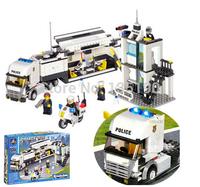 Free shipping KAZI 6727 511pcs police truck 3D large DIY building block sets kids enlighten bricks blocks children birthday toys