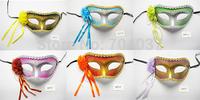 (500 pcs/lot) New Handmade Festive Party Supplies Plastic with Silk Flower Women Masquerade Ball Masks Dance masks Free Shipping