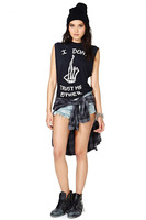 2014 I dont trust me either punk sleeveless o-neck short-sleeve T-shirt tops