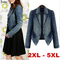 Lanluu Hot West Fashion XL to 5XL Long Sleeve Autumn Jeans Coats Women Short Denim Jackets SQ853
