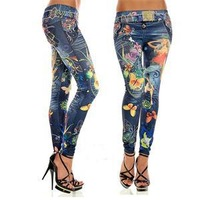 Autumn 2014 Fashion Pretty Skinny Women Leggings Ankle-Length Simulated Jean Print Pencil Leggings Women Free Size Black Blue
