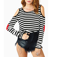 Womens Strips Round Collar T Shirt Tees Off Shoulder Red Heart Fabric Long Sleeve 2014 Antumn New   78026-78029