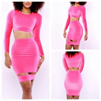 free shipping Nightclub fashion take-out two-piece dress sexy trade patchwork clothing  YH6089