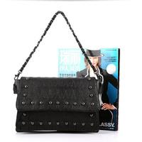 New Women Shoulder Bag Black Retro Skull Rivet Messenger Bag Handbag Ladies Evening Clutch Bag Free Shipping