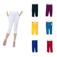 Womens Candy Color Harem Pants Summer Cropped Baggy Stretchy Loose  Trouser   78038-78044