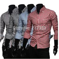 Free shipping men's spring and autumn plaid casual shirts, men's long sleeve classic colorful plaid  fashion shirts, M-XXL