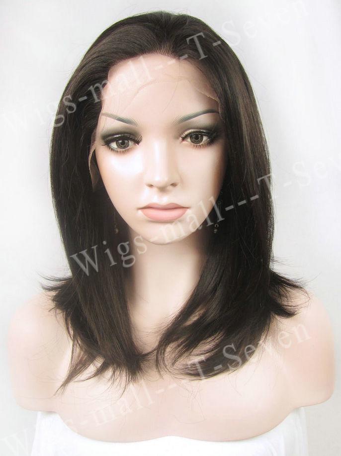 Chic curto Jennifer Aniston Syntheic peruca dianteira do laço sintético marrom bob perucas celebridade perucas Lace synthetic(China (Mainland))