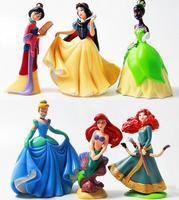 smile 365 Princess Snow White Ariel Merida Tina PVC figure toys for gilrs 6pcs/set