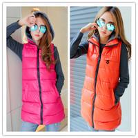 3XL Autumn and winter plus size Women vest PU with a hood vest leather jacket waistcoat slim down cotton vest women