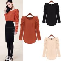 New Arrival Fashion Clothing 2014 Elegant  Autumn Women Loose Long Sleeve Sheer Shirts Puff Sleeve European Blouses Shirt