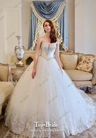 Luxury High Quality Crystal V-neck 100CM Train Wedding Dress S316